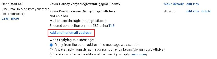 select add another email address