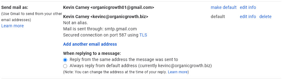 Image shows Send mail as configuration within Gmail