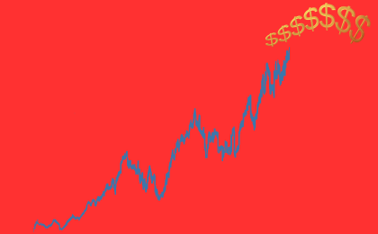 Image of a dark blue upgraph against a neon red background, leading up to gold dollar signs