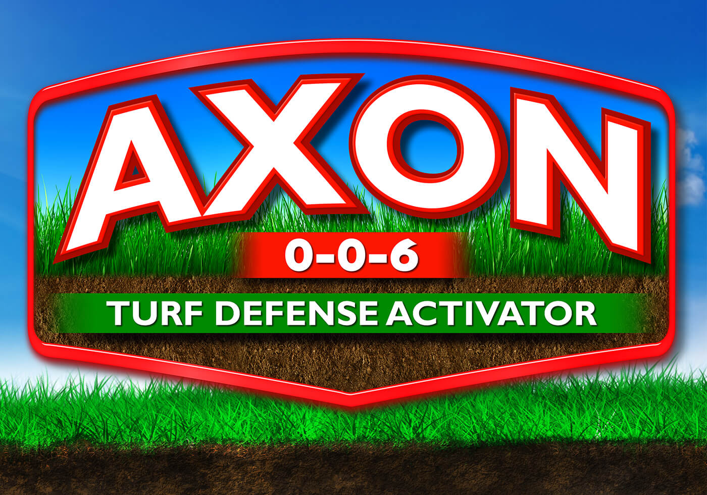 large red axon 3-0-6 logo turf defense activator over blue sky background grass and dirt
