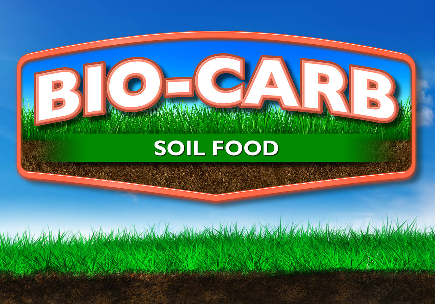 large orange and white nutrasorb bio carb logo soil food over blue sky background grass and dirt