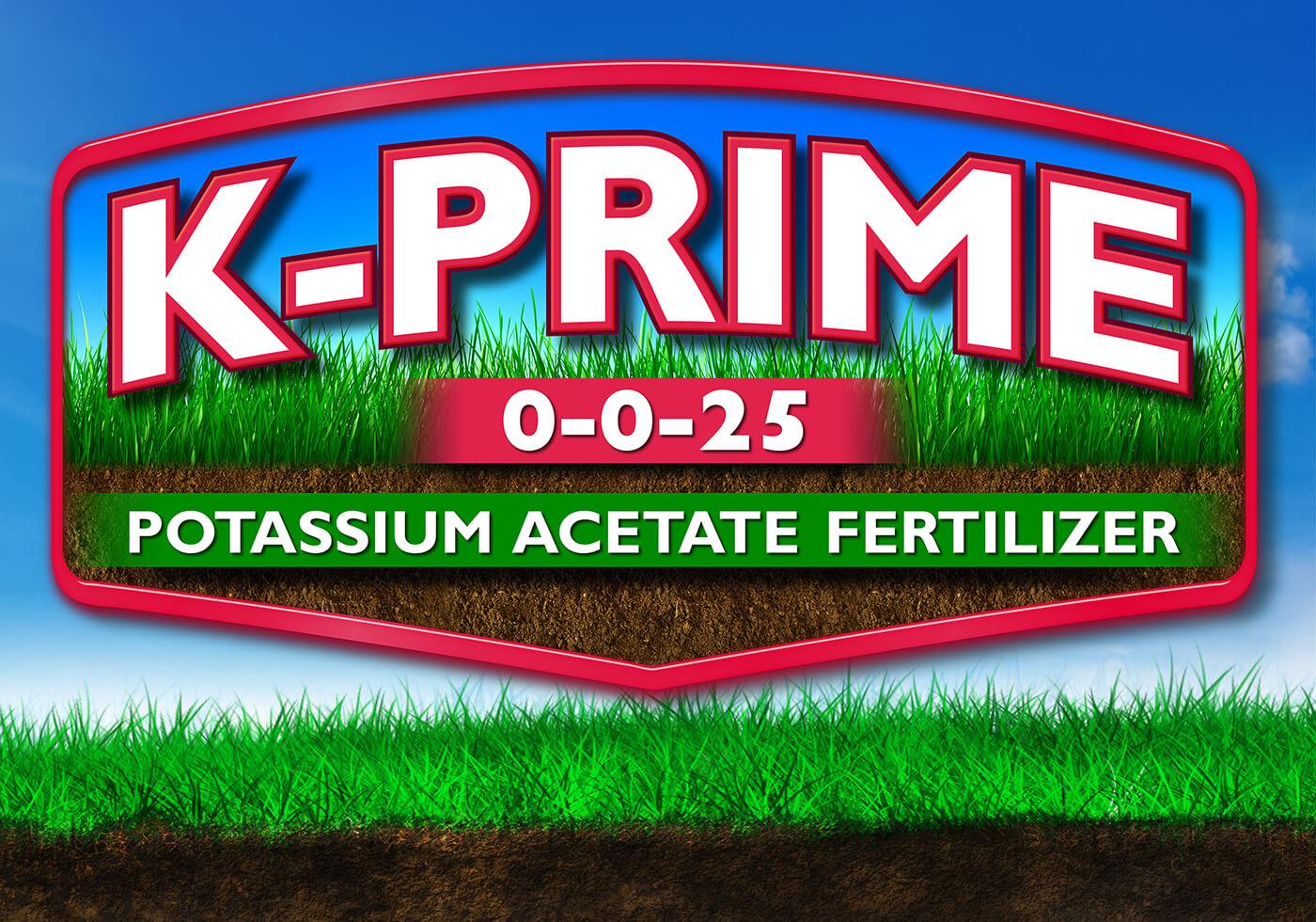 large red k prime 25-0-0 logo potassium acetate fertilizer over blue sky background grass and dirt