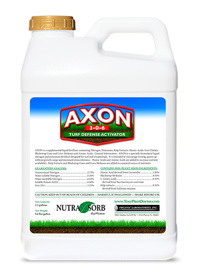 white screw top container of nutrasorb axon plus 3-0-6 turf defense activator with label with grass and dirt