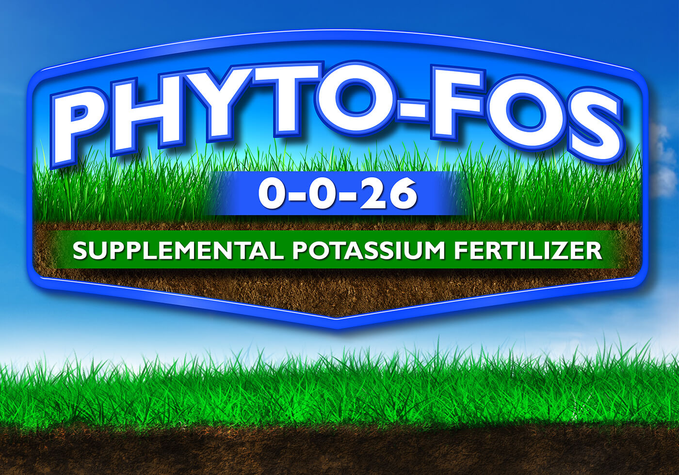 large blue phyto fos 0-0-26 logo supplemental potassium fertilizer over blue sky background grass and dirt