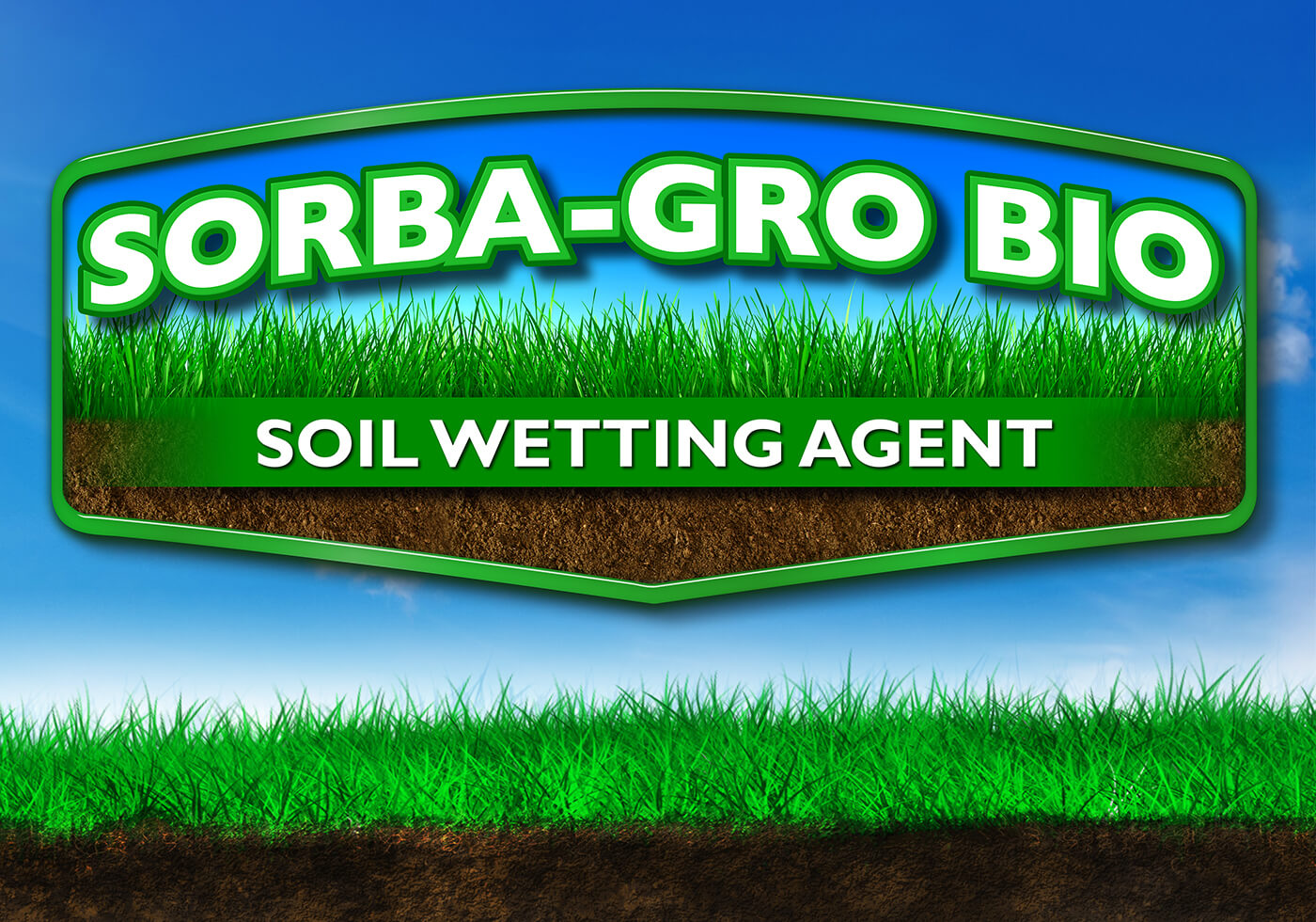 large green nutrasorb sorba grow bio logo soil wetting agent over blue sky background grass and dirt