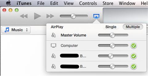 아이튠즈의 다중 스피커 선택