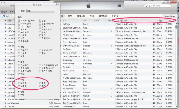 아이튠즈에서 음원의 음질을 확인하는 방법
