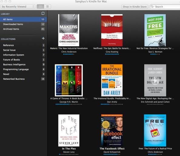 필자의 Kindle Library. Library는 클라우드에 존재하므로 어떤 기기에서나 접근이 가능하다.