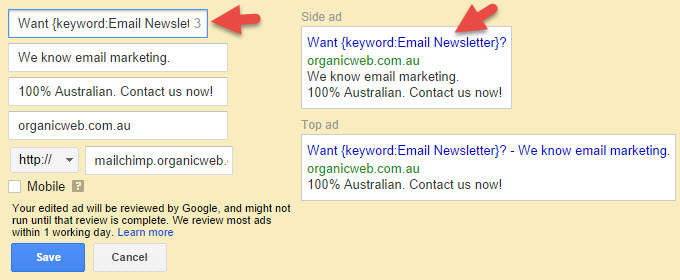 Example of automatically inserting keywords into an Adwords advert