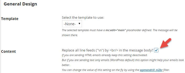Mandrill WordPress plugin settings