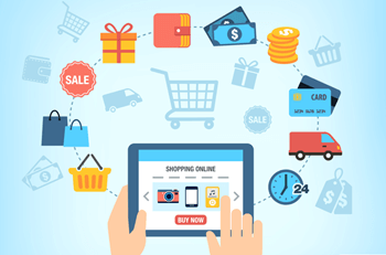 A person buying products online using ecommerce
