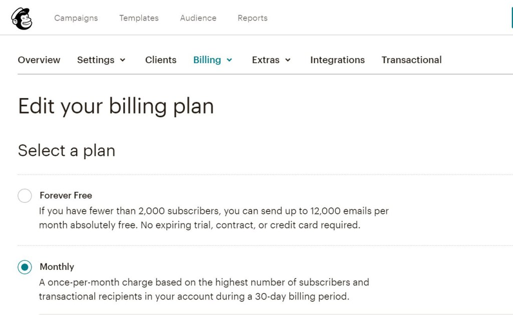 Mailchimp Billing Plan screen
