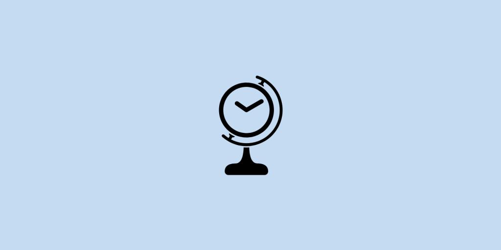 Earth globe with a clock