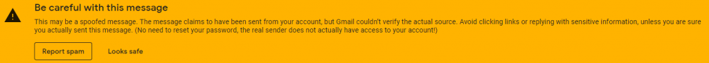 Gmail spoof warning