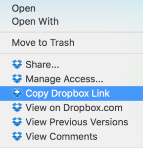 How to share a Dropbox file