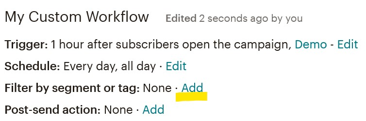Mailchimp filter by tag option