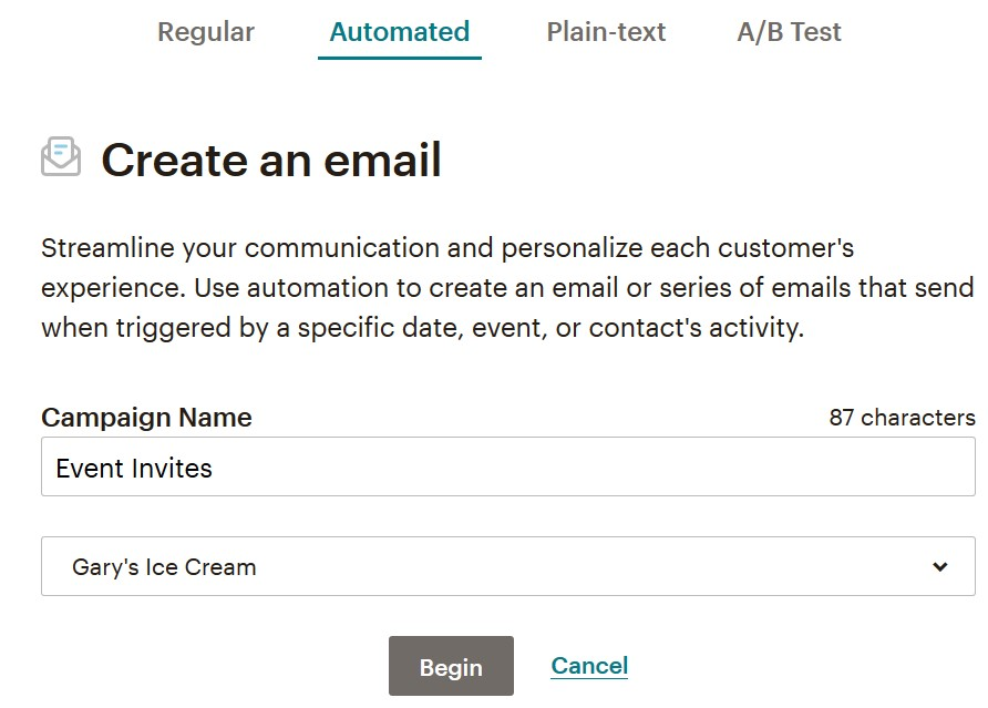 Naming a Mailchimp email campaign