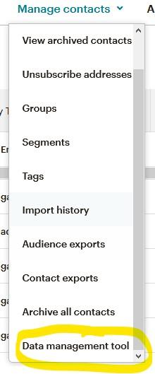 Mailchimp data management tool