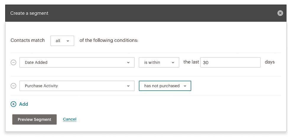 Creating a Mailchimp segment