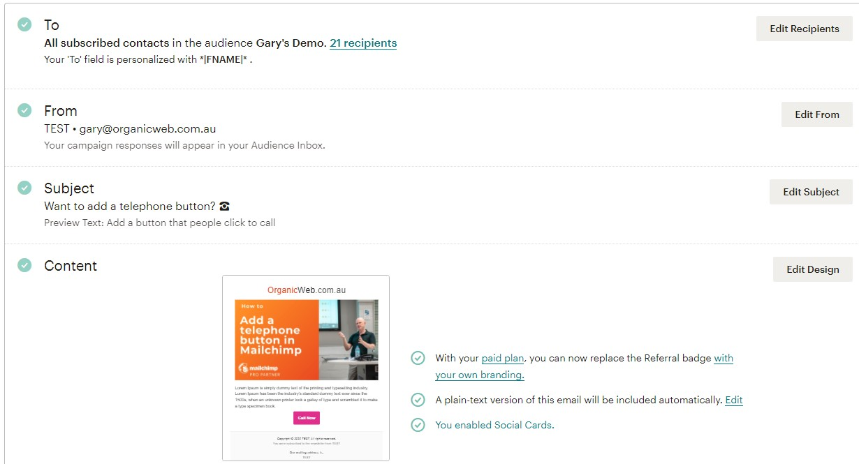 The Mailchimp email campaign builder