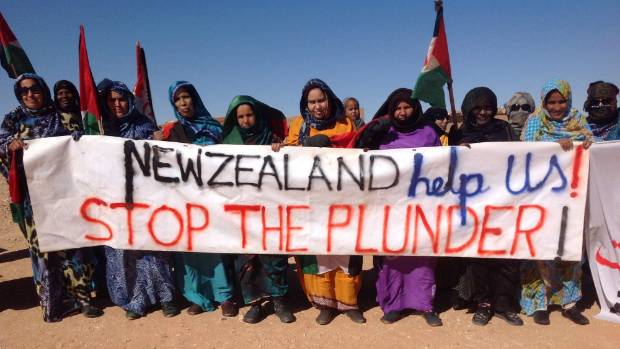 "Group of Saharawi activists carrying a painted banner reading ""New Zealand Help Us STOP THE PLUNDER"""
