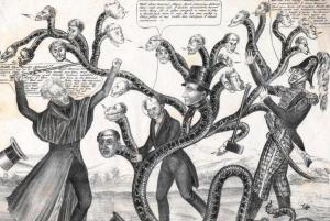 "A satire on Andrew Jackson's campaign to destroy the Bank of the United States and its support among state banks. Jackson, Martin Van Buren, and Jack Downing struggle against a snake with heads representing the states. Jackson (on the left) raises a cane marked ""Veto"" and says, ""Biddle thou Monster Avaunt!! avaount I say! or by the Great Eternal I'll cleave thee to the earth, aye thee and thy four and twenty satellites. Matty if thou art true...come on. if thou art false, may the venomous monster turn his dire fang upon thee..."" Van Buren: ""Well done General, Major Jack Downing, Adams, Clay, well done all. I dislike dissentions beyond every thing, for it often compels a man to play a double part, were it only for his own safety. Policy, policy is my motto, but intrigues I cannot countenance."" Downing (dropping his axe): ""Now now you nasty varmint, be you imperishable? I swan Gineral that are beats all I reckon, that's the horrible wiper wot wommits wenemous heads I guess..."" The largest of the heads is president of the Bank Nicholas Biddle's, which wears a top hat labeled ""Penn"" (i.e. Pennsylvania) and ""$45,000,000."" This refers to the rechartering of the Bank by the Pennsylvania legislature in defiance of the adminstration's efforts to destroy it."