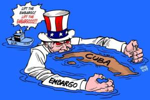 "Cartoon by Carlos Latuff, 2007, depicting a demonic Uncle Sam submerged in water with his arms wrapped around Cuba. A United Nations ship floats behind him shouting ""Lift the embargo!"""