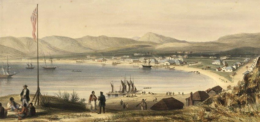 Historic painting of Te Whanganui-a-Tara, with ships coming into the harbour and a British Imperial flag erected to the left of the frame.
