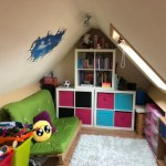 Colourful attic playroom