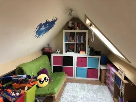 Colourful attic playroom