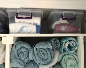 Towels and bathroom storage