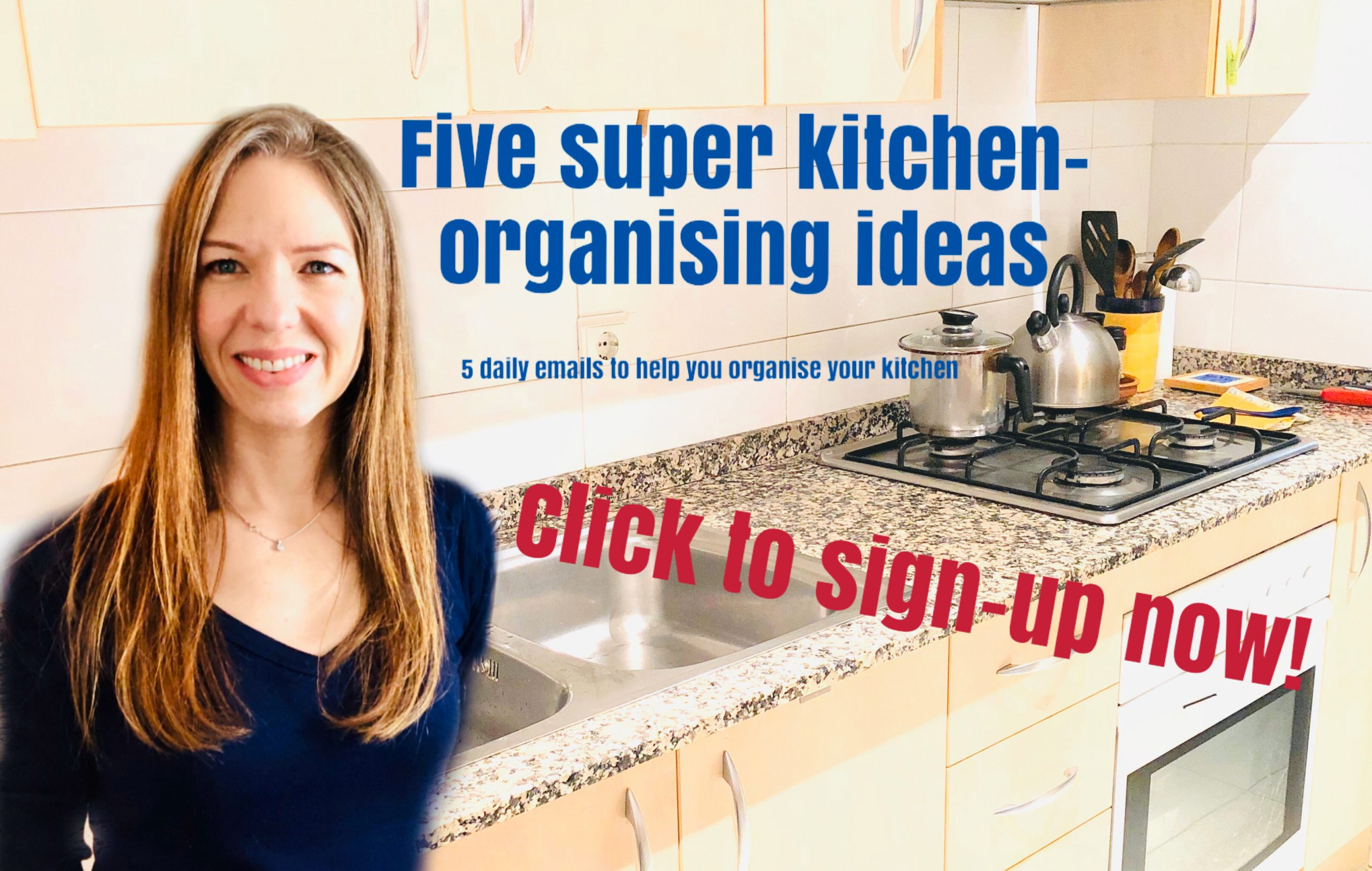 Kitchen organising ideas, decluttering tips, organising freebie