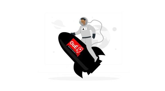 an illustration of place à notre nouveau logo - Oué on rocket