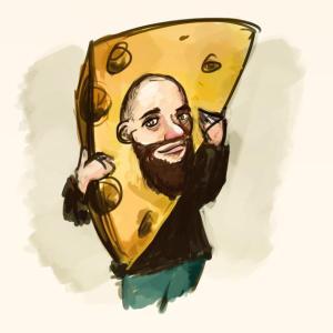 Tecknat porträtt på mig med huvudet i en gigantisk bit ost.