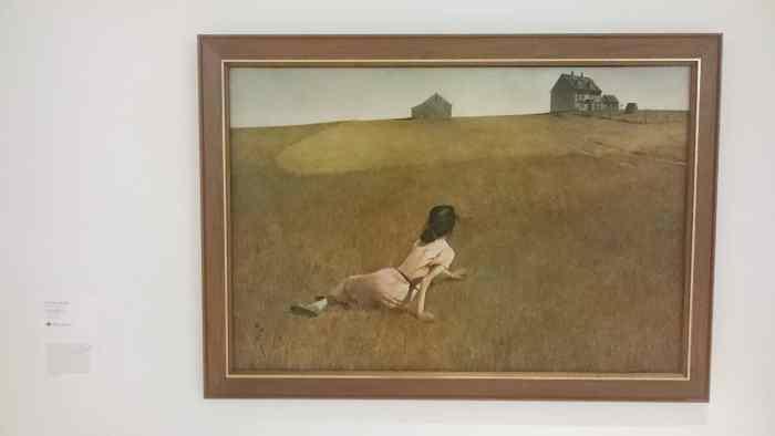 Ett foto av tavlan Christinas värld, tagen där den hängde på Museum of Modern Art i New York.