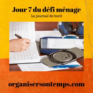 Jour 7 défi ménage Journal de Bord