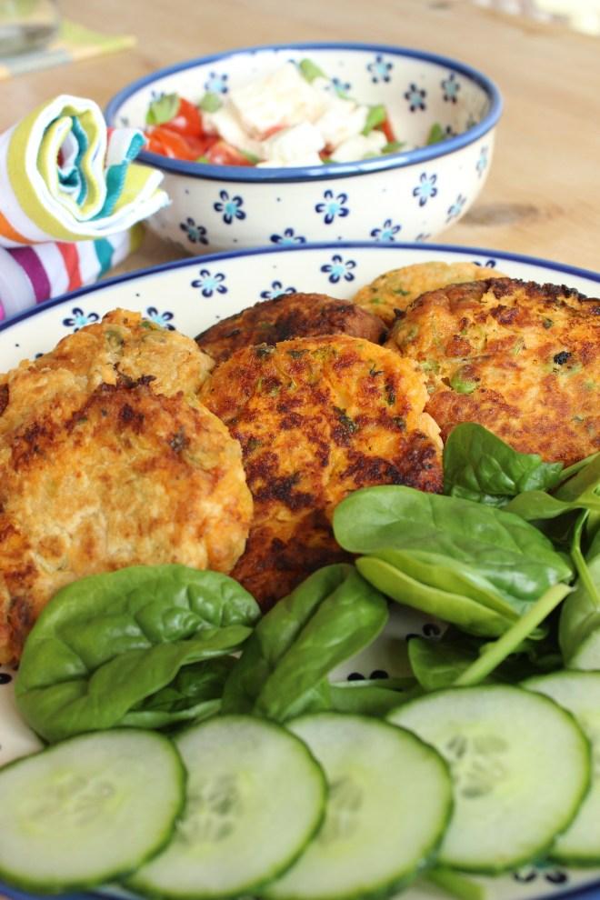 Salmon Fishcakes with salads