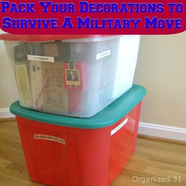 How to pack your decorations well enough to survive a military move.