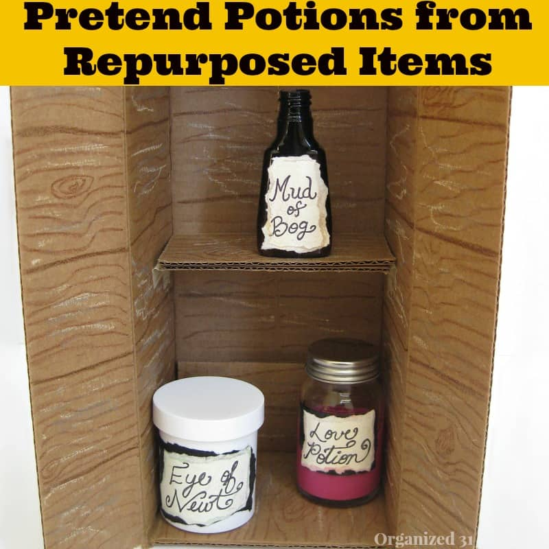 Pretend Potions from Repurposed Items and Crayola #ColorfulCreations @Walmart #shop- Organized 31
