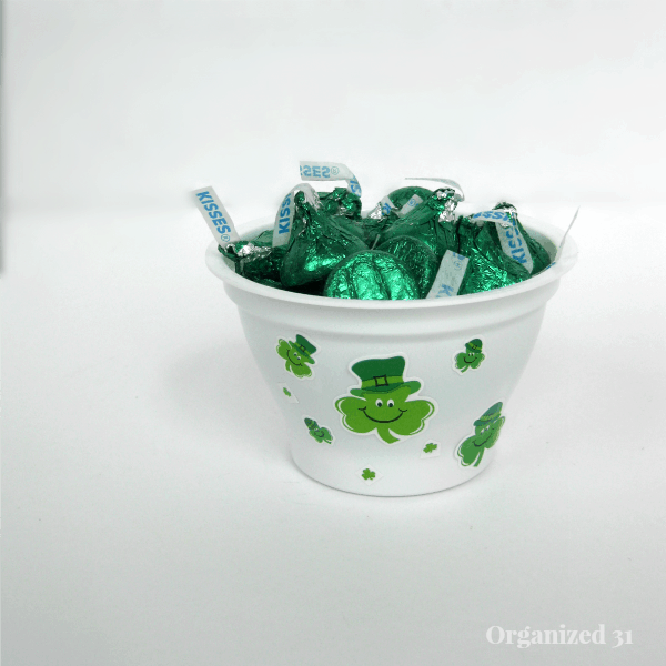 Upcycled Yogurt Cups for St. Patrick's Day Treats - Organized 31