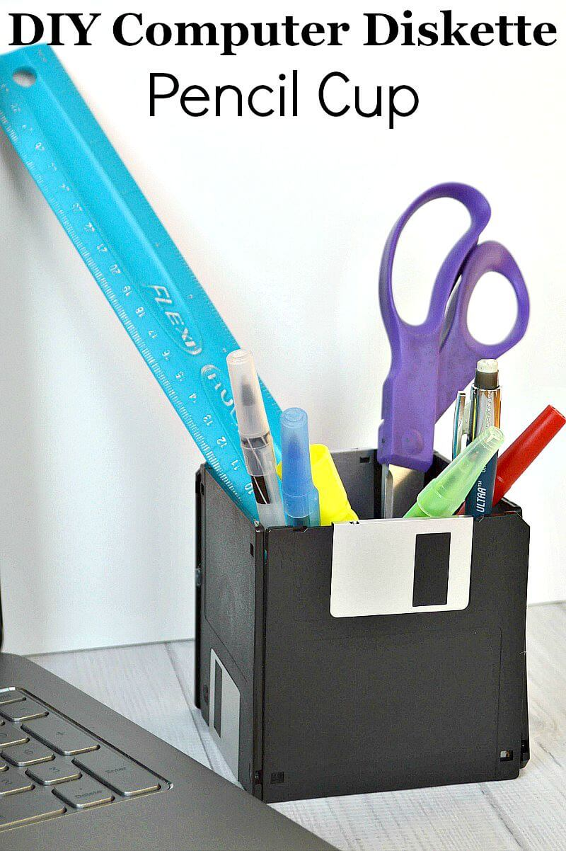Make this DIY Computer Diskette Pencil Cup