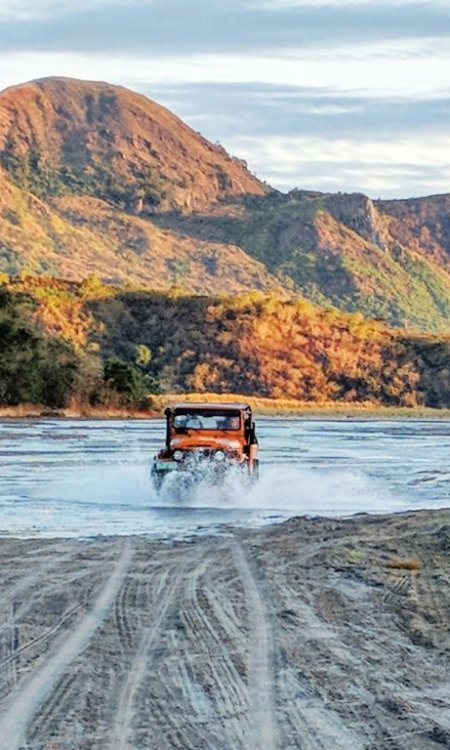 Jeep ride through the dry river bed on the Mount Pinatubo hike in the Philippines