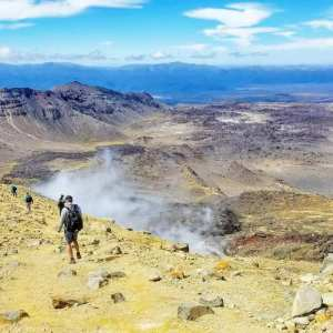 Volcanic steam and sulfur on the Tongariro Crossing New zealand