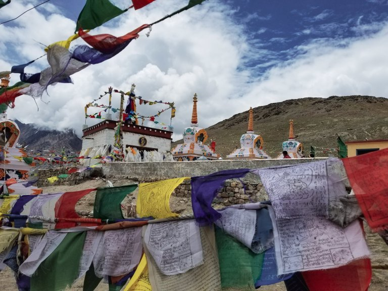 Stupas and prayer flags at Kunzum La Spiti Valley India