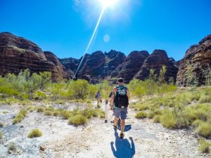 Hiking on the Cathedral Gorge Trail of the Bungle Bungle Range