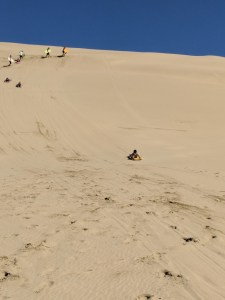 Sand boarding down the dunes near Ninety Mile Beach