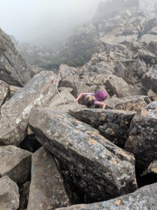 Climbing towards the Cradle Mountain summit
