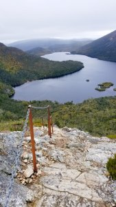 The trail overlooking Dove Lake Cradle Mountain Tasmania