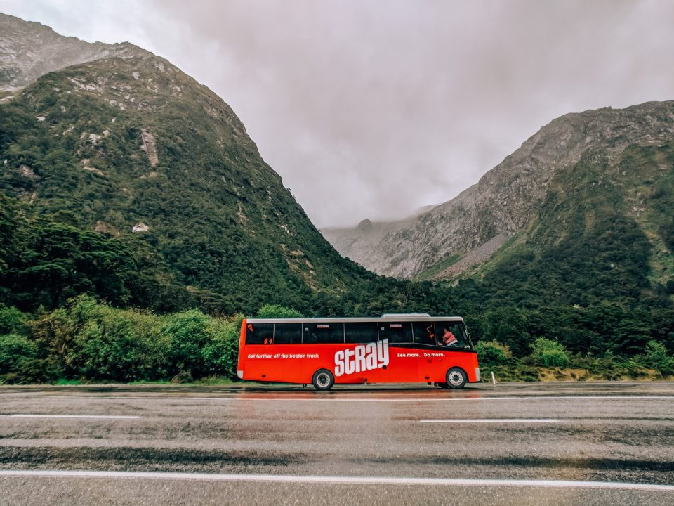 Our Stray New Zealand Bus near Milford Sound