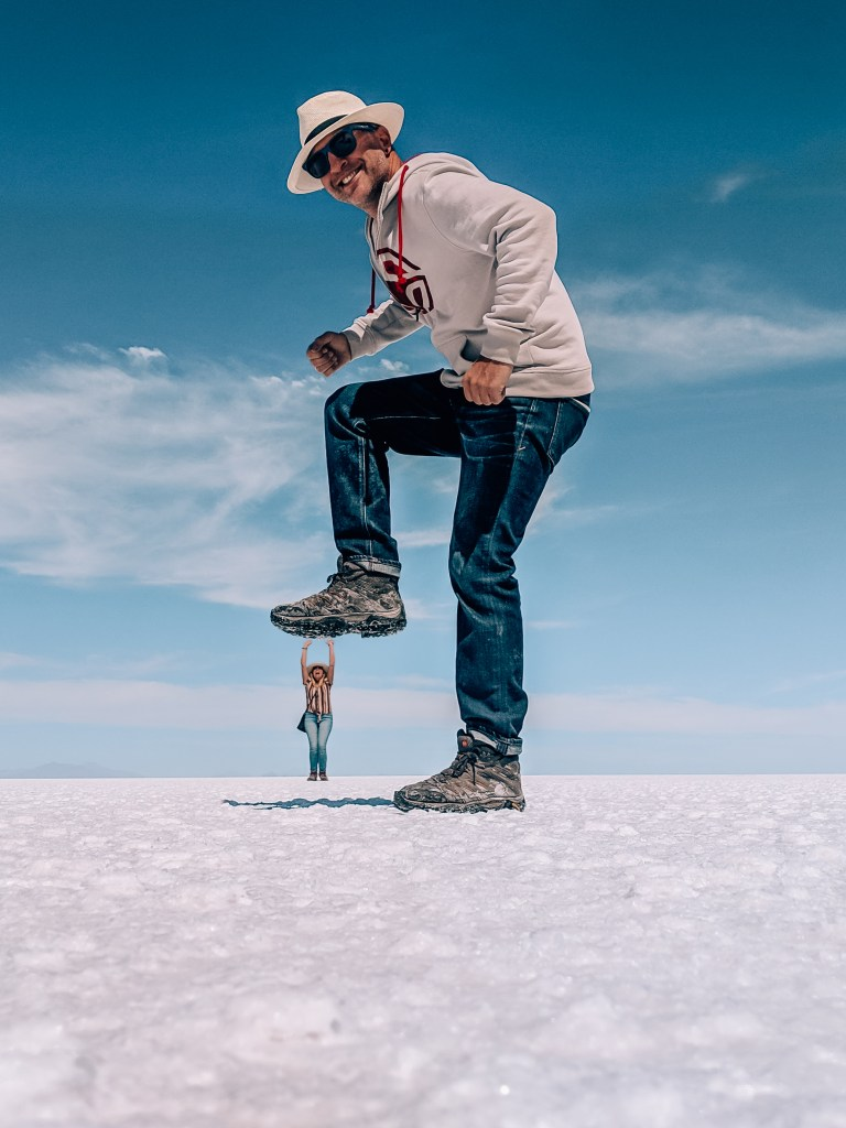 Salar de Uyuni is famous for being able to take perspective-bending photos.